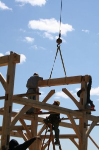 Workers Raising a Timber Frames