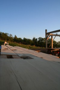 Maple Timber Frame Posts at Sunset