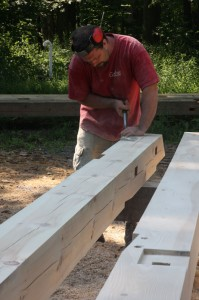 Working a Timber Frame Post