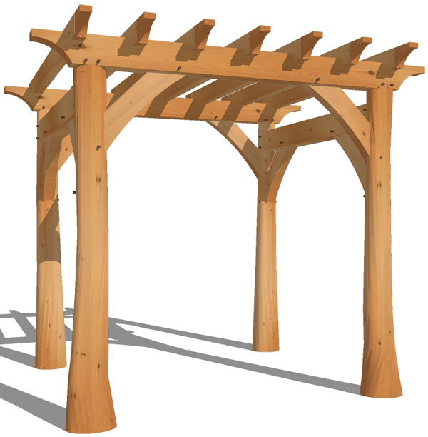 Pergola with Natural Round Posts - Timber Frame Pergolas Enhance Any Setting New Heritage Woodworking