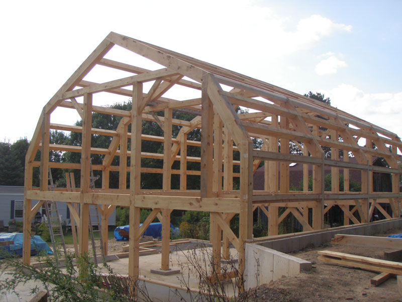 Gambrel Timber Frame Photo Gallery New Heritage Woodworking